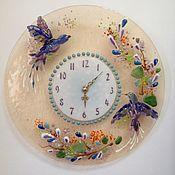 """Для дома и интерьера ручной работы. Ярмарка Мастеров - ручная работа Часы """"Райские птички""""    фьюзинг. Handmade."""