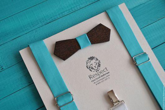 Комплекты аксессуаров ручной работы. Ярмарка Мастеров - ручная работа. Купить Деревянная бабочка галстук бирюзовая + однотонные бирюзовые подтяжки. Handmade.