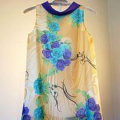 Работы для детей, ручной работы. Ярмарка Мастеров - ручная работа Детское платье с фиолетовыми и голубыми розами. Handmade.