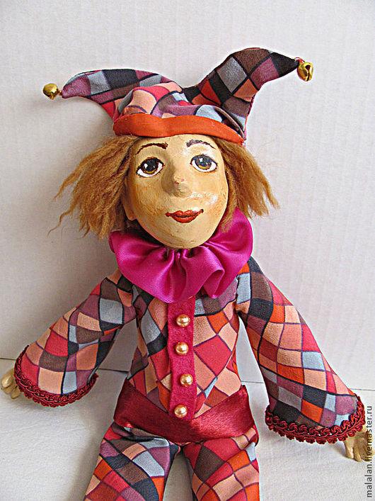 """Человечки ручной работы. Ярмарка Мастеров - ручная работа. Купить Кукла""""Арлекин"""". Handmade. Фуксия, мальчик, хлопковая ткань, ровница"""