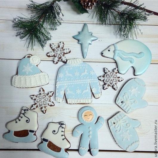 """Кулинарные сувениры ручной работы. Ярмарка Мастеров - ручная работа. Купить """"Let it snow!"""" - Набор имбирного печенья. Handmade."""