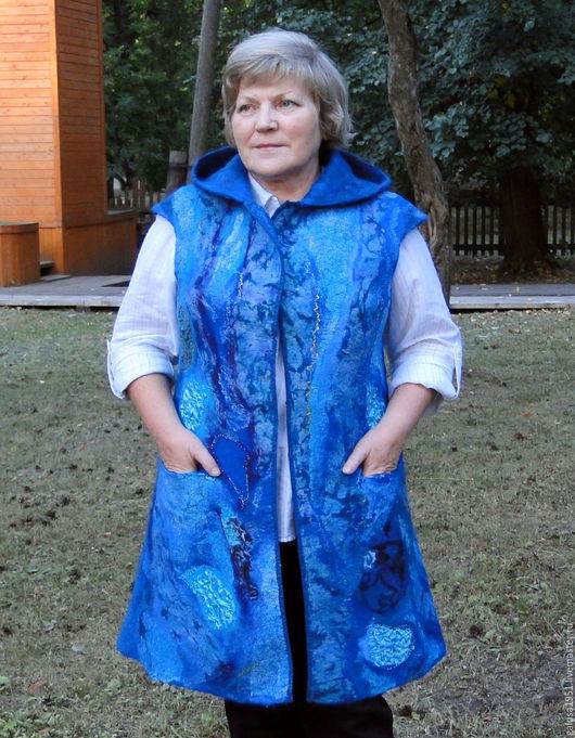 """Верхняя одежда ручной работы. Ярмарка Мастеров - ручная работа. Купить Жилет-пальто """" Море"""". Handmade. Синий"""