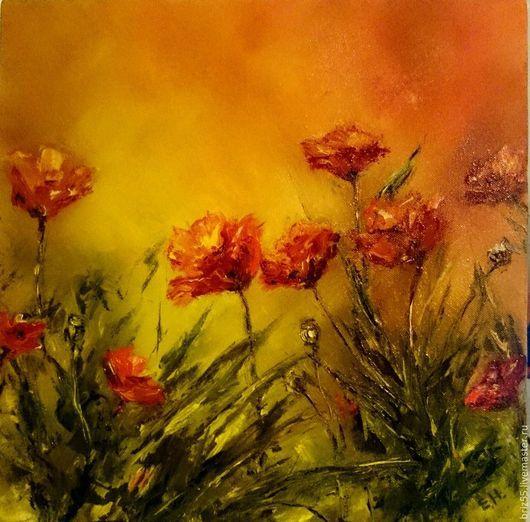 Картины цветов ручной работы. Ярмарка Мастеров - ручная работа. Купить Картина маслом Маковое поле. Handmade. Рыжий, красный