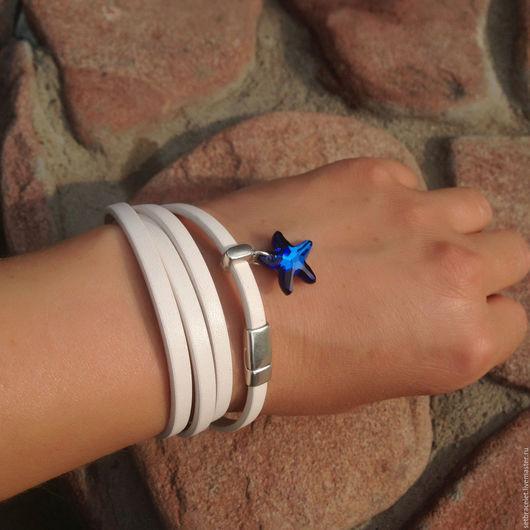 Браслеты ручной работы. Ярмарка Мастеров - ручная работа. Купить Кожаный браслет из кожи белой 5мм шнур звезда сваровски. Handmade.