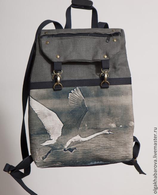 Сумки и аксессуары ручной работы. Ярмарка Мастеров - ручная работа. Купить Рюкзак из плотного льна цвета хаки с принтом ЛЕБЕДЬ НА ВЗЛЕТЕ. Handmade.
