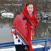 Аксессуары handmade. Livemaster - original item Merino Wool Knitted Bright Red Shawl Crochet Triangle Lace Scarf. Handmade.