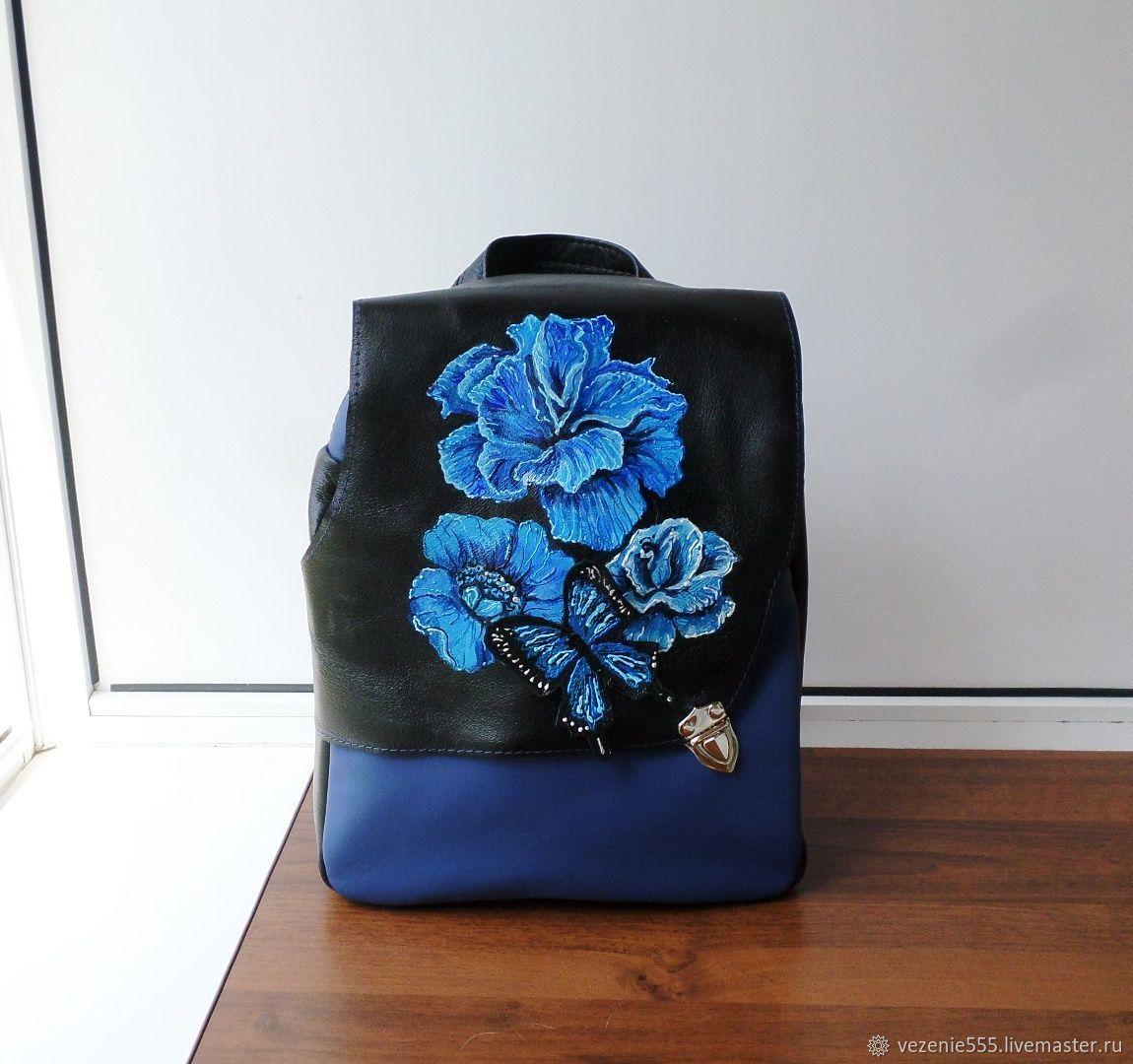 Рюкзак кожаный с росписью и аппликацией Светлане – заказать на Ярмарке Мастеров – JGLQ2RU | Классическая сумка, Ногинск