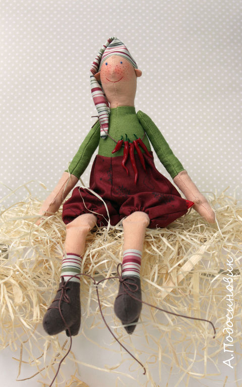 Человечки ручной работы. Ярмарка Мастеров - ручная работа. Купить Интерьерная текстильная кукла Мальчик Перчик. Handmade. Текстильная кукла