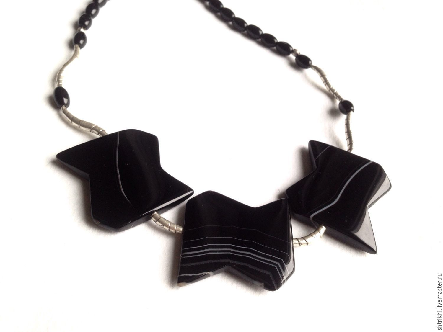 Necklace Graphics. Black agate, silver, Karen hill handmade, Necklace, Moscow,  Фото №1