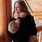 Одежда handmade. Livemaster - original item 42-66 size! mutton fur coat with trim Fox. Handmade.