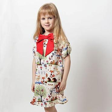 Работы для детей, ручной работы. Ярмарка Мастеров - ручная работа Платье для девочки из американского хлопка с красным бантом. Handmade.