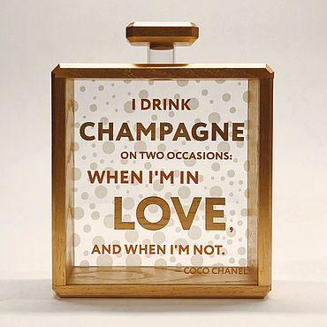 Сувениры и подарки ручной работы. Ярмарка Мастеров - ручная работа Копилка для винных пробок шампанского цитата Шанель Chanel no.5 вино. Handmade.