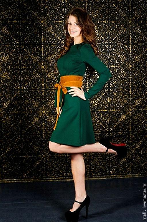 Платья ручной работы. Ярмарка Мастеров - ручная работа. Купить Платье повседневное из джерси 054. Handmade. Тёмно-зелёный
