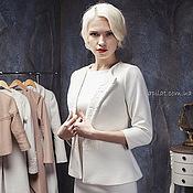 Одежда handmade. Livemaster - original item Woman Wool Jacket with lace, Wedding white collarless coat C-10. Handmade.