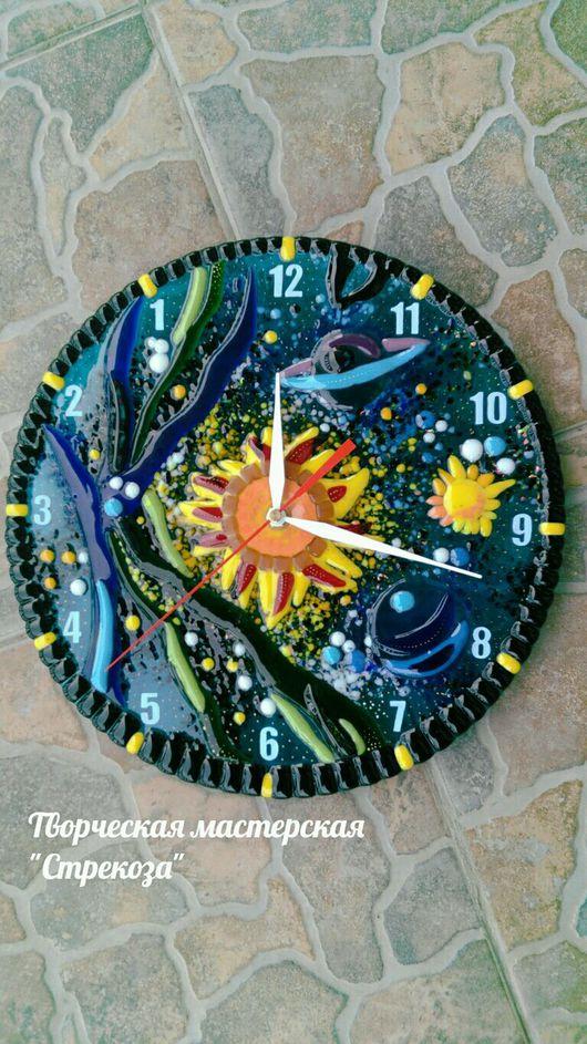 Часы для дома ручной работы. Ярмарка Мастеров - ручная работа. Купить Космос. Handmade. Стекло, часы настенные, стекло