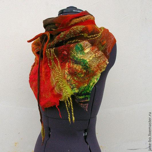 """Шарфы и шарфики ручной работы. Ярмарка Мастеров - ручная работа. Купить Валяный шарф бактус """"Краски"""", нуно- войлок. Handmade."""