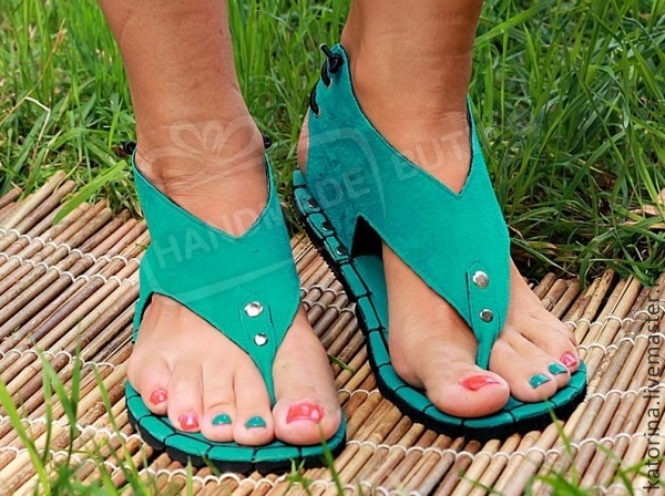 sandals turquoise suede low, Sandals, Moscow,  Фото №1