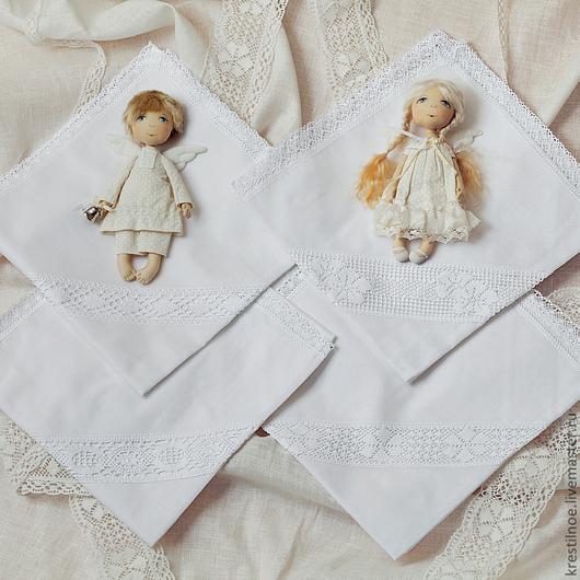 Для новорожденных, ручной работы. Ярмарка Мастеров - ручная работа. Купить Пеленка-уголок на выписку или Крестины. Handmade. На выписку