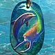 Кулоны, подвески ручной работы. Ярмарка Мастеров - ручная работа. Купить Кулон С дельфином. Handmade. Тёмно-бирюзовый, русалочка