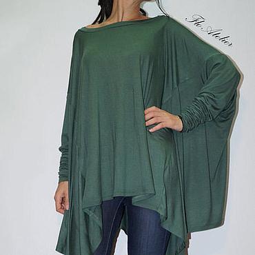 Одежда ручной работы. Ярмарка Мастеров - ручная работа Свободная длинная блузка/Модный Топ/F1338. Handmade.