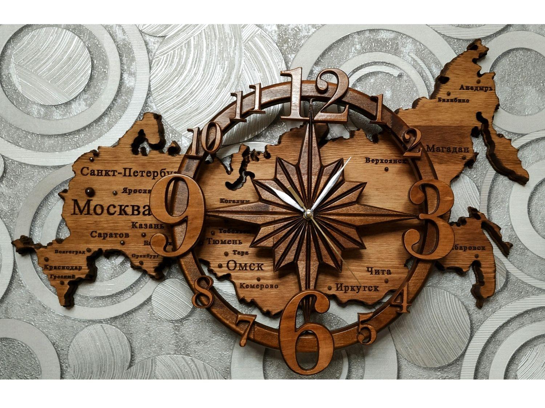 Часы настенные карта России, Часы, Москва, Фото №1