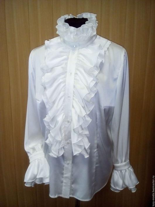 """Блузки ручной работы. Ярмарка Мастеров - ручная работа. Купить Блузка с оборками """"А-ля Людовик"""". Handmade. Белый, шёлк"""
