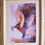 """Картины и панно ручной работы. Ярмарка Мастеров - ручная работа Картина вышивка """"Птица на охоте"""". Handmade."""