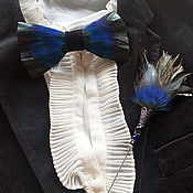 Аксессуары handmade. Livemaster - original item Bow tie and boutonniere set with rooster and peacock feathers. Handmade.