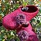 Тапочки ручной работы ` Цветы осени` из натуральной шерсти. Мачнева Евгения(sladuniya)