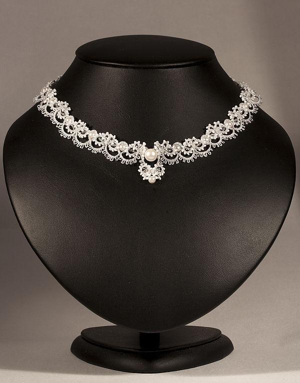 'eugene' wedding necklace lace handmade tatting, Wedding necklace, Novosibirsk,  Фото №1