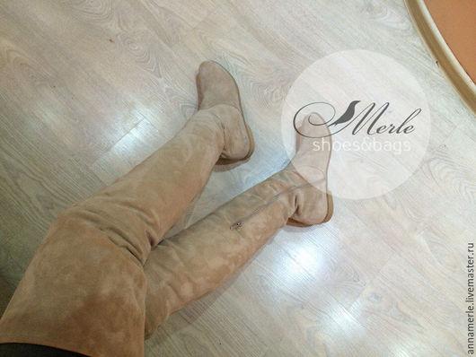 Обувь ручной работы. Ярмарка Мастеров - ручная работа. Купить Ботфорты беж замш, низкий ход. Handmade. Бежевый