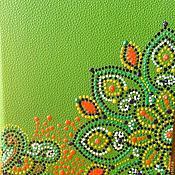 """Канцелярские товары ручной работы. Ярмарка Мастеров - ручная работа блокнот с точечной росписью """"Light  green"""". Handmade."""