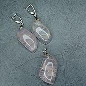 Украшения handmade. Livemaster - original item Set of earrings and pendant natural rose quartz. Handmade.