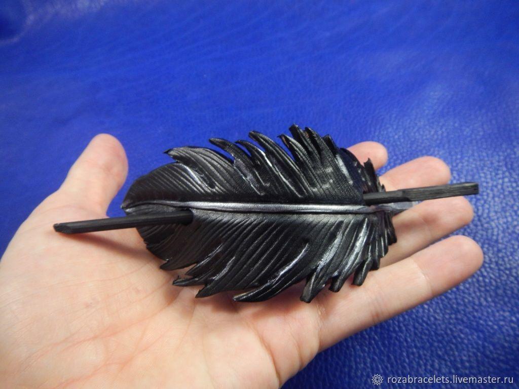 Кожаная заколка на волосы Перо ворона, Заколки, Ульяновск,  Фото №1