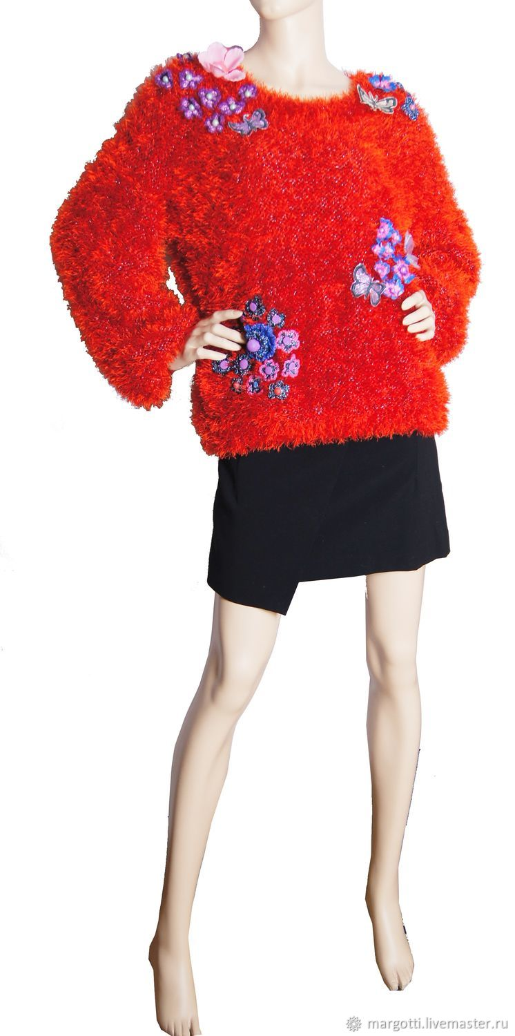 Bright furry sweater decorated with flowers, Sweaters, Nelidovo,  Фото №1