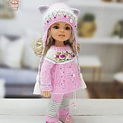 Куклы и игрушки handmade. Livemaster - original item Clothes for Paola Reina dolls. Crimson-pink suit with ears.. Handmade.