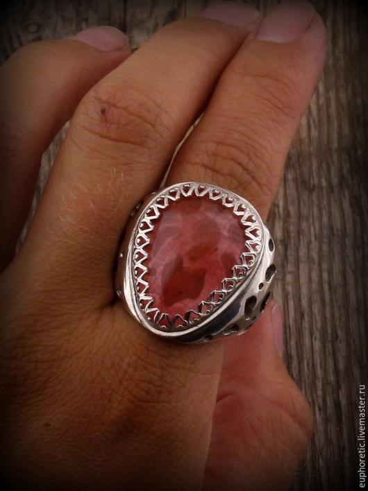 """Кольца ручной работы. Ярмарка Мастеров - ручная работа. Купить """"Лотос"""" серебряное кольцо с розовым обсидианом. Handmade. Розовый"""