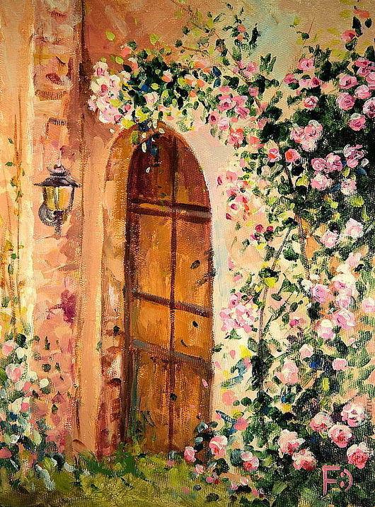 Картины цветов ручной работы. Ярмарка Мастеров - ручная работа. Купить Картина маслом на холсте. Таинственный сад.. Handmade. Розы