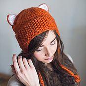 Шапки ручной работы. Ярмарка Мастеров - ручная работа Шапка теплая женская с ушками кошки. Handmade.