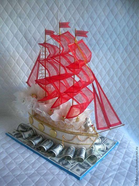 """Персональные подарки ручной работы. Ярмарка Мастеров - ручная работа. Купить Корабль из конфет """"Алые паруса"""". Handmade. Корабль"""