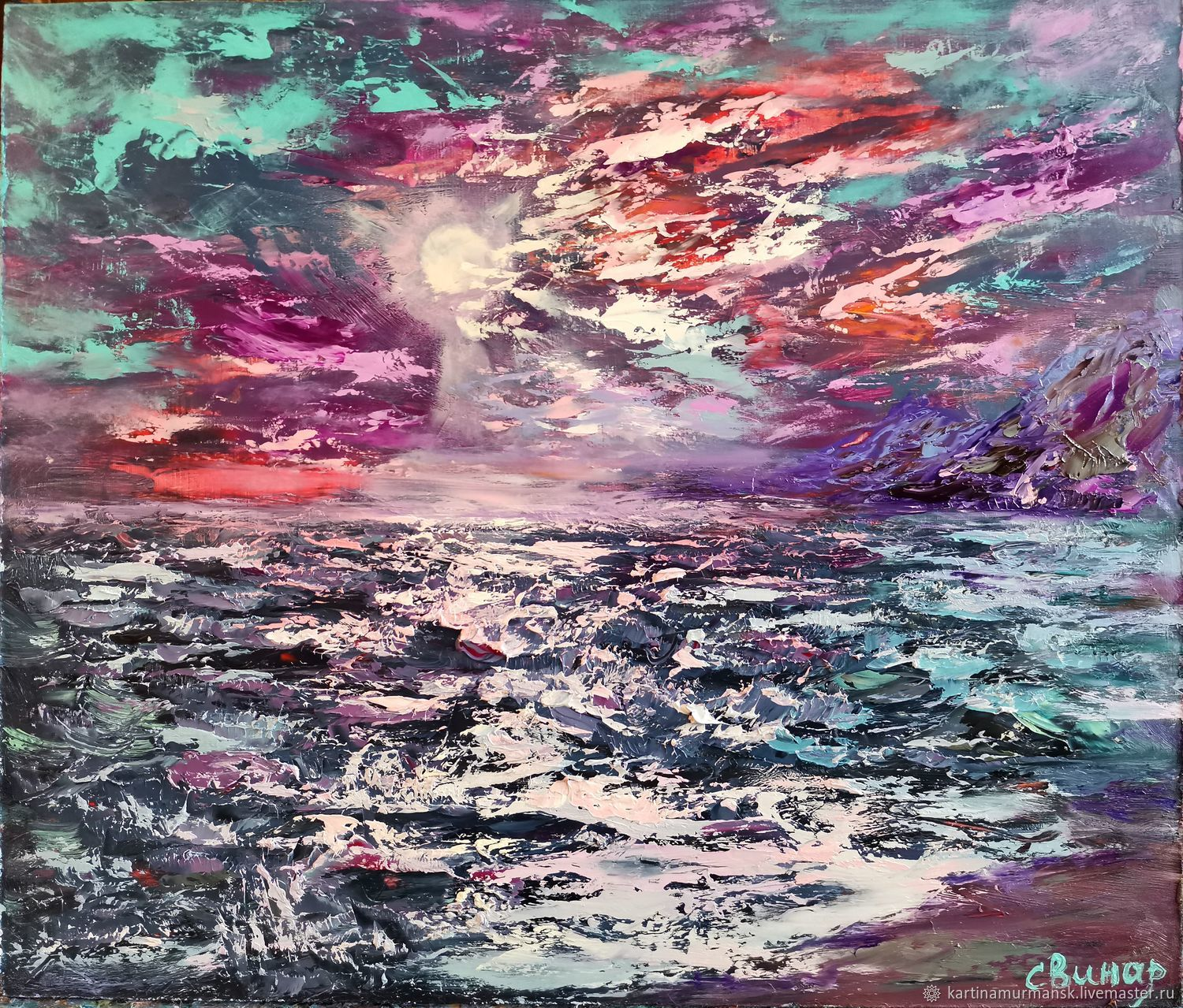 Painting ' night sea 'I had a moonlight dream', Pictures, Murmansk,  Фото №1