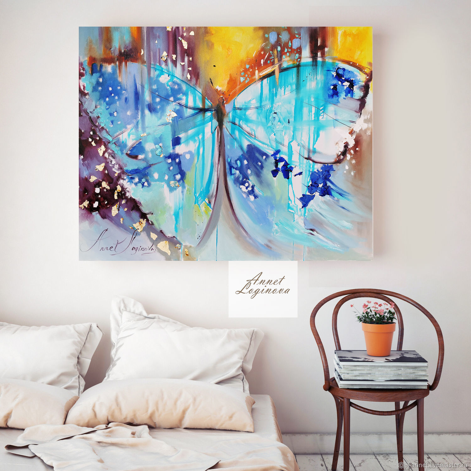 Turquoise butterfly-a bright oil painting on canvas, Pictures, Moscow,  Фото №1