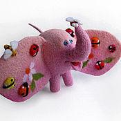 Куклы и игрушки ручной работы. Ярмарка Мастеров - ручная работа Войлочная фигурка — Розовый слон. Handmade.