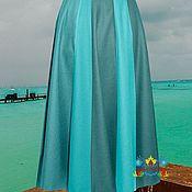 """Одежда ручной работы. Ярмарка Мастеров - ручная работа зимняя теплая юбка """"Голубой залив"""" из  джерси. Handmade."""
