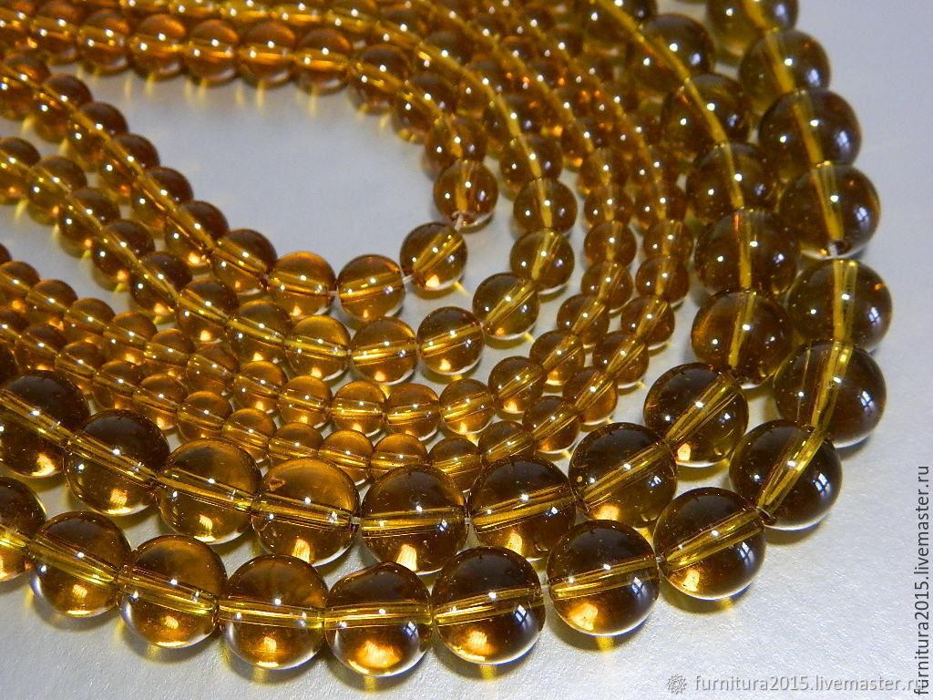 Quartz smooth ball, Cognac color, Beads1, Saratov,  Фото №1