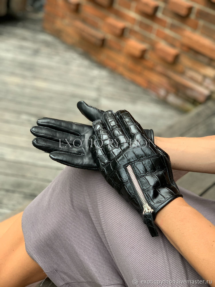 Women's crocodile leather gloves, Gloves, Moscow,  Фото №1