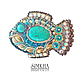 Brooch 'Fish Sunny with turquoise', Brooches, Netanya,  Фото №1
