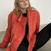 Одежда handmade. Livemaster - original item Leather jacket made of coral-colored raincoat fabric. Handmade.