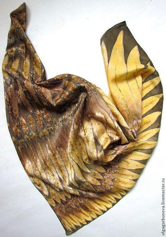 """Шали, палантины ручной работы. Ярмарка Мастеров - ручная работа. Купить Батик платок  """"Лесная птица"""".. Handmade. Батик, золотой"""