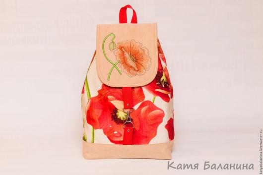 Рюкзаки ручной работы. Ярмарка Мастеров - ручная работа. Купить Городской рюкзак с вышивкой Красный мак. Handmade. Ярко-красный
